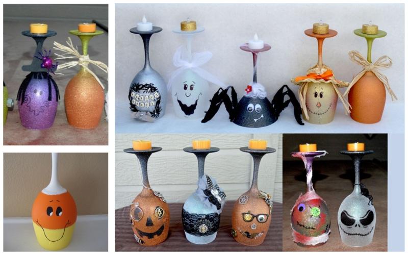 Candelabros de copas para Halloween