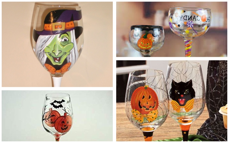 Copas decoradas para Halloween con pintura para cerámica
