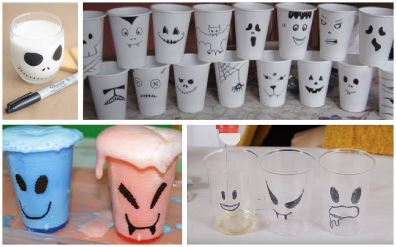 Vasos de Halloween rotulados
