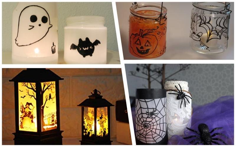 Velas como centros de mesa para Halloween